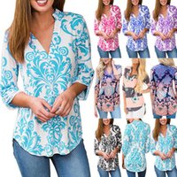 Wholesale long sleeved t shirts ladies - Womens Casual Flower Floral Print Tops Ladies Long Sleeved Blouse T-Shirt Shirt Tee