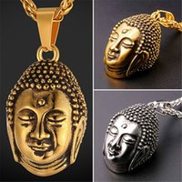 Trendy blessings jewelry - U7 New Blessed Tathagata Buddha Pendant Necklace Stainless Steel Gold Plated Charm Men Women Religious Buddhist Jewelry Accessories GP2478