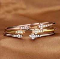 Wholesale Letter Shaped Cufflinks - 2017 Cubic Zirconia letter arrow Shape Bangles Design Copper 18K Gold Plated Cuff Bracelet Bangle Cufflink Double T Bracelet Valentine's Day
