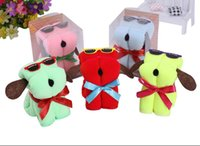 Wholesale Cheap Hand Face Towels - Dog Cake Shape Towel with retail Box Package Microfiber Cotton Washcloth Wedding Gifts Cheap Promotion Gifts
