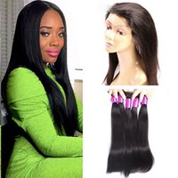 Wholesale Closure Straight Hair - 360 Lace Frontal Closure with Bundles 360 Frontal with 3 Bundles Brazilian Straight Hair 100% Remy Human Hair Weave Extension with Baby Hair