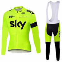 ingrosso cycling-2017 Set maglie ciclismo uomini della squadra di SKY, inverno termica abbigliamento in pile di bicicletta uomini abbigliamento bicicletta abbigliamento bici Bike Jersey, 3 colori!