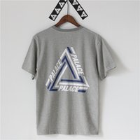 Men black buttons - PALACE TRI CRIB T SHIRT Men Women Stripe Triangle Hip Hop Kanye West Fashion Cotton T Shirts Street Skateboards Tees Shirt Tops