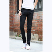 Wholesale jeans zipper pockets men - Wholesale-Men's Simple Pocket Middle-waisted Slim Fit Skinny Straight Leg Washed Denim Pencil Trousers Stretchy Casual Jeans Pants