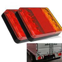 luces traseras para camion al por mayor-DHL 8 LEDS Car Truck Trasero Luz trasera Luces de advertencia Luces traseras Impermeables Tailights Partes posteriores para remolque Camión Barco DC 12V