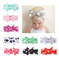 Wholesale Silk Hair Bows For Girls - Kids Bow Headbands Star Printed Bows Headband for Girls 2017 Fashion Toddler Boutique Elastic Silk Hairbands Hair Accessories