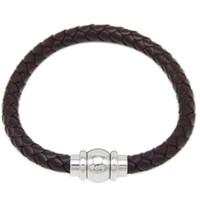 Wholesale Mens Engrave Bracelet - Free Shipping 10pcs lot hot sale Customized Engrave Logo Bio Magnetic Leather Bracelet Braided Mens Leather Bracelet