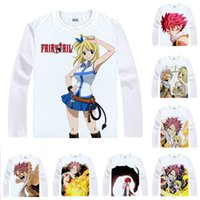 Wholesale Lucy Fairy Tail - Anime Shirt Fairy Tail T-Shirts Multi-style Long Sleeve Natsu Dragneel Lucy Heartfilia Cosplay Motivs Kawaii Shirts