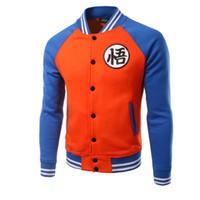 Wholesale Sweater Anime - Hip Pop Sweatshirt Men Raglan Sleeves Dragon Ball Goku Anime Sweater Baseball Jacket for Man Sweatshirts Hoodie 3D Print Cotton double 11