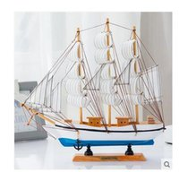 Wholesale Usa Ornament - Solid wood model sailboats creative household USA style real wood decoration model wooden handicraft furnishing articles creative ship model