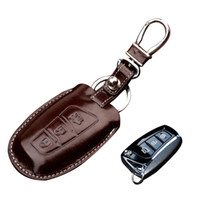 Wholesale Hyundai Key Fob Cover - Genuine Leather Key Fob Cover Remote control Keychain for Hyundai Grand Santa Fe IX45 Genesis Key rings Smart keyless holder key chain