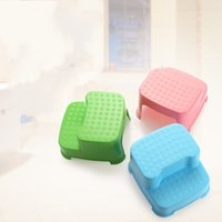 Wholesale foot stools - Double Deck Stool Antiskid Plastic Ladder Type Ottomans For Children Multi Function Foot Transitions Step Stools Top Quality 18 5xt D R