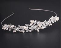 conjuntos de joyas de boda tiara perla al por mayor-Nueva Moda de Boda de La Vendimia Nupcial Crystal Rhinestone Perla Accesorios Para el Cabello Diadema Band Crown Tiara Ribbon Headpiece Jewelry Set