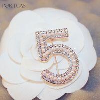 Wholesale Muslim Hijab Pins - Wholesale- Simulated-Pearls Beaded Brand C NO.5 Brooch Rhinestones Hijab Pin Muslim Scarf Pin Crystal Brooches with Rhinestones Jewelry