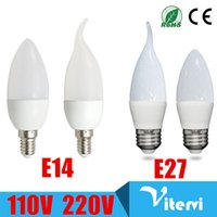 Wholesale E27 Led Bulbs 3w Corn - 360 angle LED Candle Bulb 3W 5W E14 E27 110V 220V chandeliers light SMD 2835 Warm Cool White High Bright SMD Crystal bulb