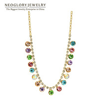 Wholesale Swarovski Red Crystal Beads - MADE WITH SWAROVSKI ELEMENTS Crystal Rhinestone Gold Plated Colorful Bead Chain Chokers Necklaces Pendants Women 2017 Neoglory