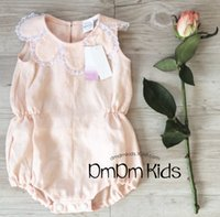 Wholesale Toddler Pink Romper Dress - 2017 INS Baby girl toddler Summer clothes clothing Petal Rose floral collar Romper Onesies Jumpsuits Lace sleeveless Vest Dress Pink White