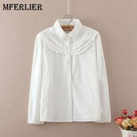Wholesale Peter Pan Blouses - Mori Girl Autumn Blouse Femme Peter Pan Collar Lace Patchwork Long Sleeve Single Breasted Women Blouses