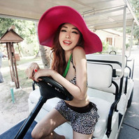 Wholesale White Linen Ladies Tops - Hot sale Ladies spring and summer sun hat tide straw hat beach hat holiday eaves EMB035