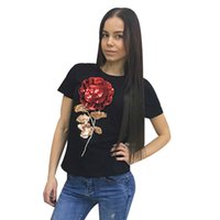 Wholesale T Shirts Ladies Flowers Rose - Wholesale- T-Shirt Women 3d Rose Flower Sequin Tops 2016 Brand FemaleT Shirt Ladies T-shirt for Women Camisetas Mujer Clothes B6108C