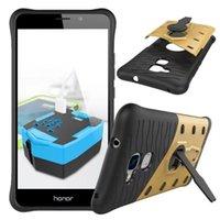 Wholesale G4 Smart Phone - Shockproof Rugged Armor Case Kickstand Hybrid Phone Cases For Moto E3 G4 Plus Play Z Huawei Honor 5C 6C Enjoy 6S Nova Smart P8 Lite