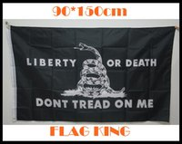 "Wholesale Black Rattlesnake - ""Don't Tread on Me"" Gadsden Flag Black Rattlesnake Flag Banner Durable Polyester USA 3x5FT ""liberty or death"" Flags 150*90cm"