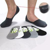 bambu lifi toptan satış-Toptan-Erkek Çorap Terlik Bambu fiber kaymaz Silikon Görünmez Tekne Çorap Erkekler / Kadınlar ayak bileği çorap 10 adet = 5 çift / grup