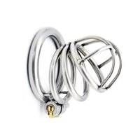 Wholesale Newest Male Chastity Belt - Newest Arrival Latest Design Male Stainless Steel 52mm Length Penis Cock Cage Chastity Belt Device Cock ring BDSM Sex toys
