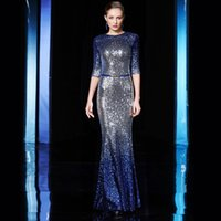 Wholesale Long Cocktail Dress Tail - Fish tail long sequins host self-cultivation long sleeve evening dress 2017 new noble and elegant woman dress