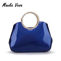 36d8585975 Vente en gros- Sacs femme vintage sacs à main en cuir verni bleu sac à main  femme sac à main embrayage grand sac fourre-tout sacs de marque