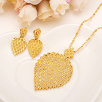 Wholesale big leaf charms for sale - Group buy gold Necklace Earring Set Women Party Gift big Leaf Jewelry Sets daily wear mother gift DIY charms women girls Fine Jewelry
