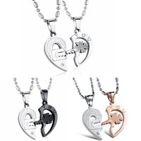 Wholesale Key Chain Puzzles - Titanium Steel Two Half Heart Puzzle Necklace With Lock Key Design Pendant Free Chains For Couple Fine Jewelry Gift