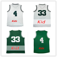 Wholesale Children Size Jerseys - Youth 33 Larry Bird Basketball Jerseys White Green Kids 4 Isaiah Thomas Boys Jerseys Stitched Child Free Drop Shipping,Size S-XL