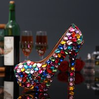 Wholesale Shoes For Pageants - 2017 Colorful Candy Crystal Womens Handmade Bridal 14 cmHeels Lady Rhinestones For Formal Wedding Evening Party Pageant Prom Celebrity Shoes