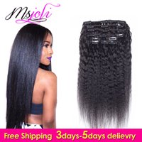 Wholesale 24 Inches Hair Clips - 7A Brazilian Virgin Human Hair Clip In Extension Full Head Natural Color Kinky Straight 7Pcs lot 12-28 Inches From Ms Joli