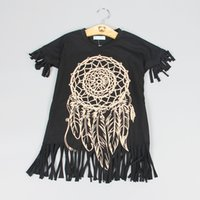 Wholesale Wholesale Mother Daughter - Fashion Summer Mother and Daughter Family Tassel Dresses Short Sleeve Black Dresses