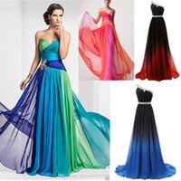 Wholesale In Stock Cheap Gradient Color One Shoulder Beaded Lace Up Chiffon Prom Dresses Ombre Bridesmaid Dresses Formal Evening Gowns Special