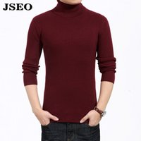 Wholesale Long Sleeve T Shirt Wool - JSEO Mens Casual Basic Knitted Turtle Neck Slim Fit Pullover Thermal Sweaters Soft Wool SweatShirts Long Sleeve T-Shirts