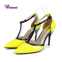 Wholesale Cheap Yellow Wedge Heels - Yellow Shoes For Women Cheap T-Strap Pumps Closed Toe High Heeled Shoes Yellow Heels Brand Shoes Woman Size 7.5 Plus Size