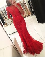 Wholesale Nude Sparkly Dresses - 2017 Sexy Sparkly Elegant Boat Neck Red Beaded Lace Appliques Mermaid Long Prom Dresses Half Sleeves Open Back Evening Prom Gown SE230