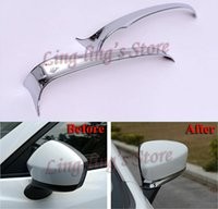 Wholesale Chrome Side Moulding - Chrome Car Door Side Mirror Cover Trim Eyebrow For MAZDA CX-5 CX5 2012-2015 Rearview Mirror Moulding 2pcs pair Car Styling