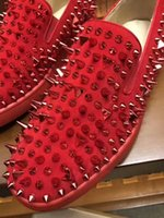 Wholesale Mens Studded Shoes - New Fashion Casual Flats Red Bottom Luxury Shoes Top Studded Spikes For Mens rivet leisure trainer footwear Cow Genuine Leather Original
