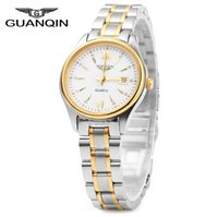 Wholesale Guanqin Watch Ladies - Free Shipping GUANQIN Ladies Calendar Rhinestone Quartz Watch with Luminous Pointers 30M Water Resistant Steel Band