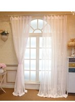 Wholesale Pastoral milk fiber floral embroidered voile bay Window sheer Curtains Tulle for Living Room Bedroom white pink yellow fabric