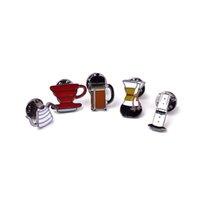 Wholesale Enamelled Pots - Wholesale- 1Set Lapel Pins Brooches For Women Coffee Tools Filter Pot Enamel Pins Collar Shirt Bag Hat Jewelry Coffee Lovers Memorial Gifts