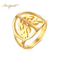Wholesale Life Size Female - Meaeguet Vintage Women Ring Life Tree Gold-Color Female Wishing Tree For Anniversary Round Finger Ring R-263G