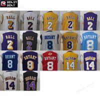 Wholesale Outdoor Basketball Ball - 2017 new fabric basketball jersey#2 Lonzo Ball #8 Kobe Bryant fine embroidery100%stitching outdoor sports blue white basketball jerseys