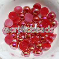 Wholesale Bulk Flat Back - 1000PCS Fcatory Wholesale AB 4mm Flat Back Plastic Faux Pearl Beads In Bulk Nail Art Phone Craft DIY Accessories
