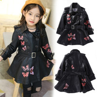 Wholesale girls pu coat floral print pattern outerwear winter kids jacket kids clothes age kids coat autumn jacket toddler