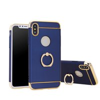Wholesale Electroplated Rings - Cases for iphoneX Ring Holder Kickstand Shock-Absorption and Anti-Scratch PC Electroplated Cell Phone Cases for Samsung note8 iphoneX 8 7 6